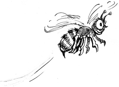 Bee sketch, pen & ink by Dennis Bryans
